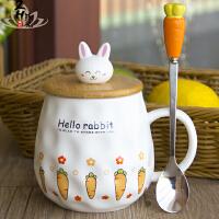 创意杯子可爱咖啡陶瓷杯 办公室陶瓷水杯女大肚马克杯带盖勺卡通杯