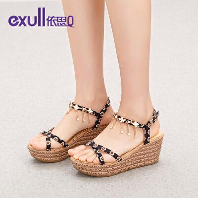 依思q夏季新款舒适坡跟高跟松糕跟防水台露趾凉鞋女