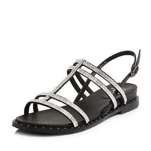 Tata/他她2018夏专柜同款拼接饰扣休闲罗马鞋方跟女凉鞋S2002BL8