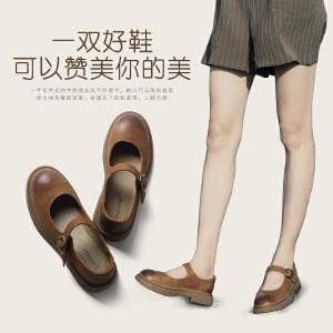 青婉田日系原宿风小皮鞋女复古玛丽珍鞋一字扣厚底单鞋女鞋软妹鞋