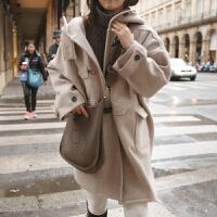 牛角扣毛呢外套女中长款羊绒呢子大衣秋冬新款韩版加厚学生装