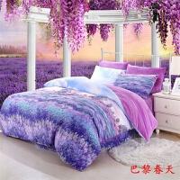 四件套纯棉冬季ins火鸟床上用品水晶绒四件套加厚保暖套件 紫罗兰 巴黎春天