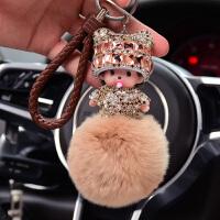 蒙奇奇汽车钥匙扣女款车钥匙挂件女韩国创意可爱书包包钥匙链公仔 +棕绳
