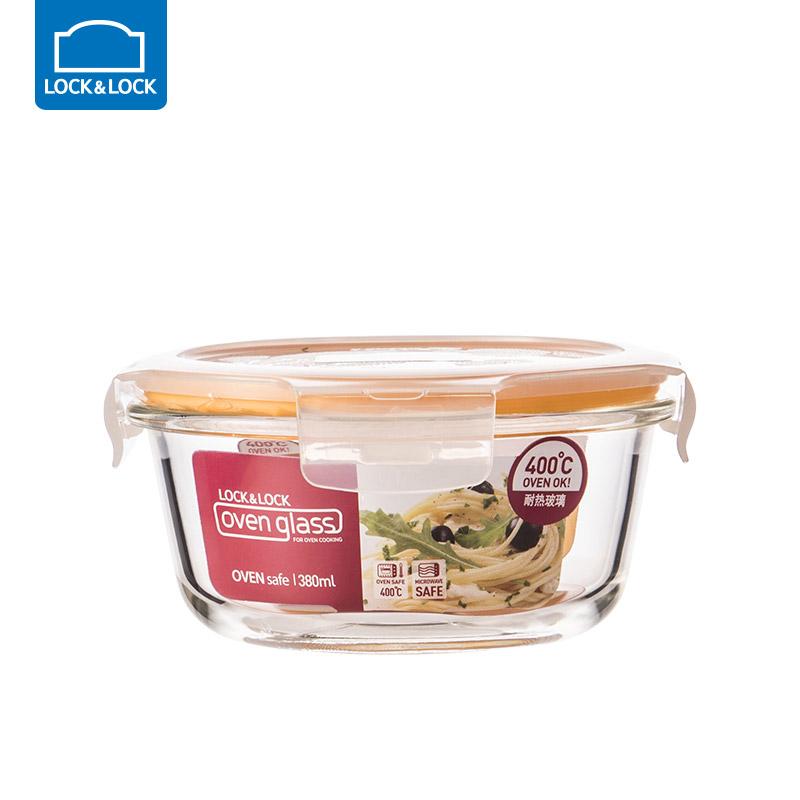 乐扣乐扣耐热玻璃饭盒保鲜盒便当盒密封碗大容量微波炉烤箱可用 380ml【圆形】