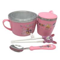 W 宝宝婴儿童餐具套装不锈钢双层隔热碗带盖有手柄碗带勺耐防摔防烫 粉色四件套500毫升 3-8岁
