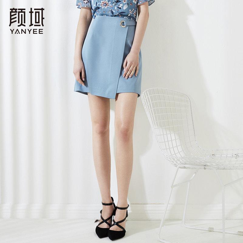 颜域2018新款不对称半身裙纯色绑带半裙品牌女装夏季短裙A字裙女