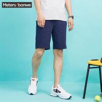 【狂欢返场,专区1件3折】美特斯邦威休闲裤男 夏装新款净色简洁针织短裤249389商场同款