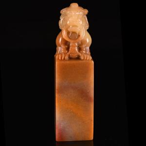 寿山石《中华狮正方章》天然寿山石精雕