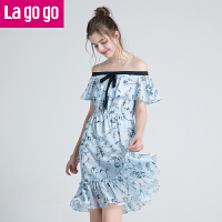 Lagogo2019年夏季新款时尚漏肩中长款仙女裙子一字领女印花连衣裙HALL304G88