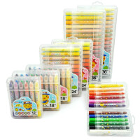 ?儿童旋转蜡笔可水洗24色36丝滑油画棒幼儿园彩色画笔? 8_GYP60604 36色盒装勾线笔+涂色本)
