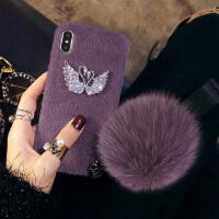 毛绒绒苹果x手机壳女iPhone7plus新款xr时尚6s秋冬8个性maxxs iPhone X (5.8)香芋紫