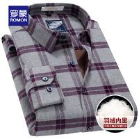 「狂欢!一件3折到手价:214」Romon/罗蒙羽绒保暖衬衫男士长袖加绒加厚中年格子羽绒保暖衬衣男