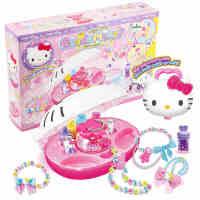 HelloKitty时尚串珠凯蒂猫女孩DIY手动穿珠机过家家儿童玩具礼物