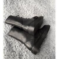 珊珊同款英伦风松糕厚底中筒靴圆头系带马丁靴骑士机车靴短靴女潮SN8321 黑色 绒里(脚瘦拍小一码)