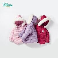 【限时抢:102】迪士尼Disney童装 女童外套带帽新款白雪公主夹棉衣服宝宝冬季荷叶边休闲棉袄184S1050