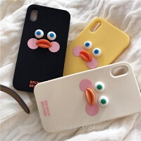 韩国ins趣味可爱立体鸭子自拍iPhone8plus/6s手机壳7/硅胶软 i6/i7/i8硅胶黄色 腮红鸭