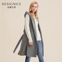 马夹毛呢外套迪赛尼斯冬季纯色中长款无袖连帽双面呢