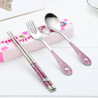 叮当猫餐具套装hellokitty不锈钢筷子勺子叉子便携三件套餐具盒