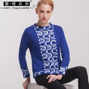 复古撞色套头衫2017秋冬新款修身显瘦格子针织衫圆领长袖打底衫女