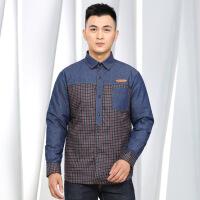 羽绒衬衫男冬季保暖新款修身加绒加厚长袖格子大码中老年商务衬衣