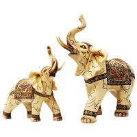 客厅装饰品树脂招财大象摆件招财风水象一对福财旺财小象玄关办公室摆设