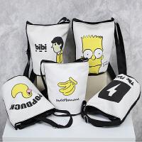 原创卡通可爱单肩包斜挎包帆布包水桶圆包女包小包包潮小挎包