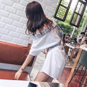谜秀冷淡风连衣裙女夏2018新款韩版学生吊带收腰极简格子衬衫裙子