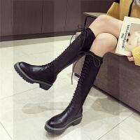 �W�t不�^膝�L靴女�T士靴英��秋冬粗中跟厚底���平跟高筒靴�R丁靴SN6017 黑色