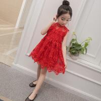女童夏装新款洋气背心公主裙韩版夏天女孩儿童网纱蕾丝连衣裙
