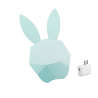 小夜灯插电智能抖音创意台灯兔子闹钟带时间声控感应个性卡通兔兔 +充电头