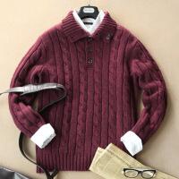 №【2019新款】冬天穿的超加厚男士纯色山羊绒衫套头秋宽松扭花立领中年毛衣