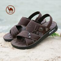骆驼牌男鞋真皮凉鞋夏季新款一字拖沙滩鞋软底防滑休闲透气凉拖鞋