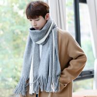 围巾男冬季简约男士围巾毛线针织长款年轻人学生围脖
