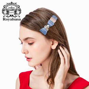 皇家莎莎韩国发饰头饰品横夹弹簧夹盘发顶夹马尾夹花朵盘头发卡子