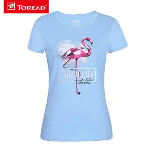 探路者T恤女 18春夏新款户外透气弹力运动女火烈鸟短袖T恤TAJG82740