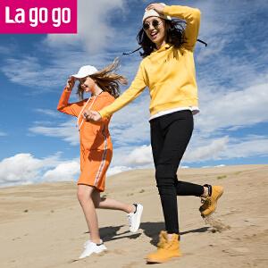 Lagogo2017冬季新款时尚纯色字母长袖连帽卫衣女宽松套头短款绒衫