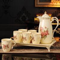 客厅凉冷水壶杯具水杯子套装陶瓷家用6只装欧式创意水具整套托盘 B套装 玫瑰 6杯1壶1托(普包)