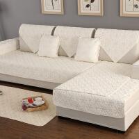 睦沙发垫纯棉四季布艺简约夏季坐垫现代通用沙发套靠背沙发巾定做 米白色 雅致花