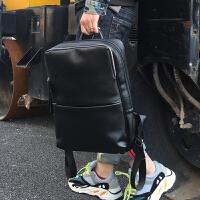 2018新款休闲双肩包男士真皮电脑背包大容量简约旅行包潮男包