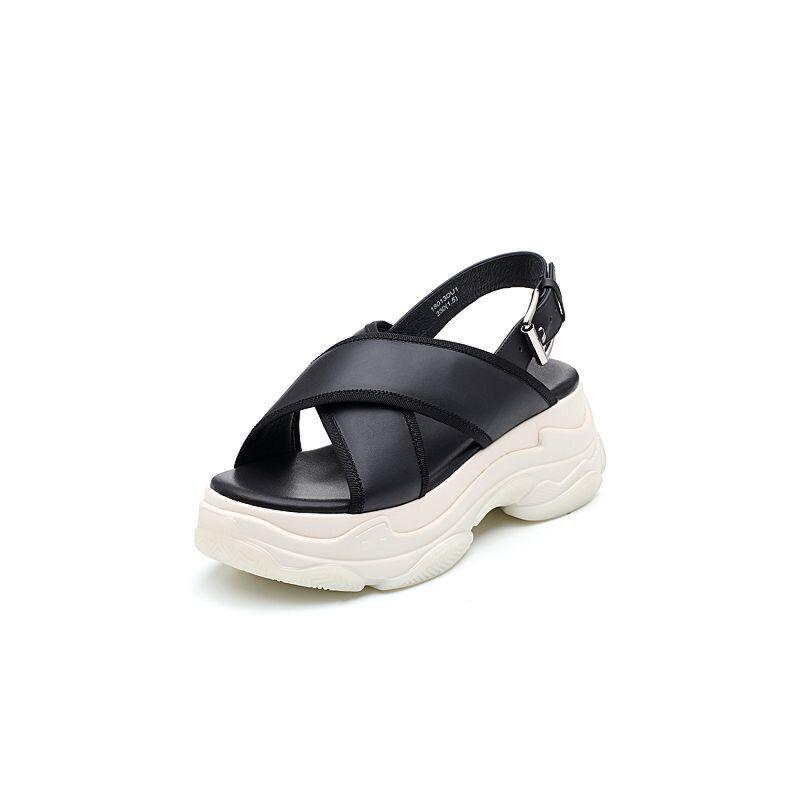 Teenmix/天美意2018夏牛皮革交叉多条带厚底运动风女凉鞋18013BL8