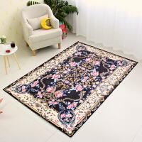 欧式美式客厅地毯卧室床边地垫现代简约北欧沙发茶几毯可机洗门垫 黑色 巴洛克繁花
