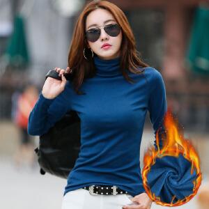 秋冬高领加绒打底衫女长袖加厚修身百搭t恤新款秋衣保暖小衫