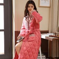 睡袍女冬三层加厚夹棉珊瑚绒加长款粉色韩版睡衣法兰绒浴袍女冬季 玫红 8921