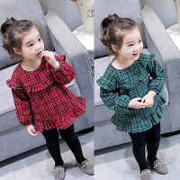 韩版新款冬装女童经典格子加绒连衣裙花边公主裙衣短款B1-S29