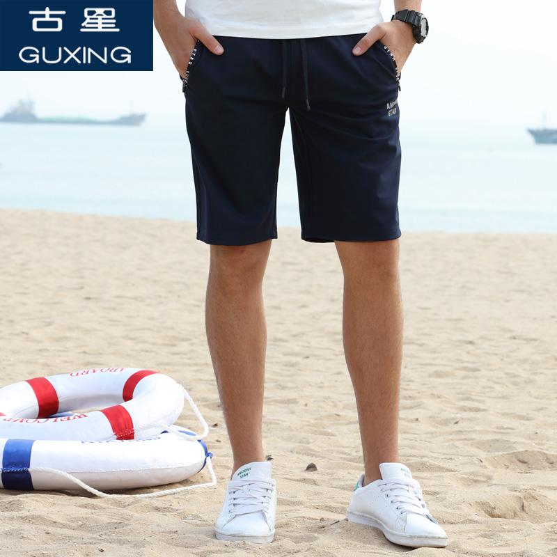 古星夏季新品男士运动五分裤透气休闲短裤拉链口袋字母直筒中裤