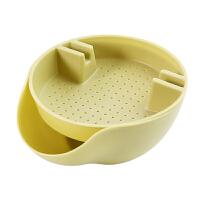 嗑瓜子神器懒人果盘创意双层桌面垃圾桶磕瓜子盘可放手机支架果盒 绿色 6208