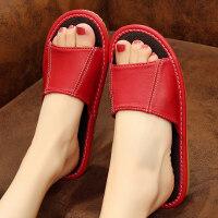夏季防滑羊皮拖鞋室内家居地板凉拖鞋男女居家皮面家用夏天皮拖鞋