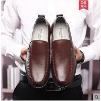 富贵鸟男鞋夏季男士商务休闲鞋真皮透气软底懒人鞋套脚中年爸爸鞋
