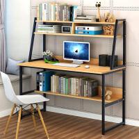 枫樱木色钢木书架台式电脑桌可折叠学生书桌家用大家用加长用组合