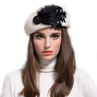 秋冬天 小礼帽  空姐帽 毛呢帽子 羽毛帽子贝雷帽女